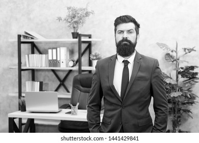 Office staff. HR director. HR management. HR job description. Head of human resources department. Man bearded serious office background. Provide consultation to management on strategic staffing plans.