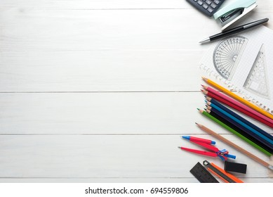 Office, stationery and supplies on wooden table, space, blank, Top view with copy space.