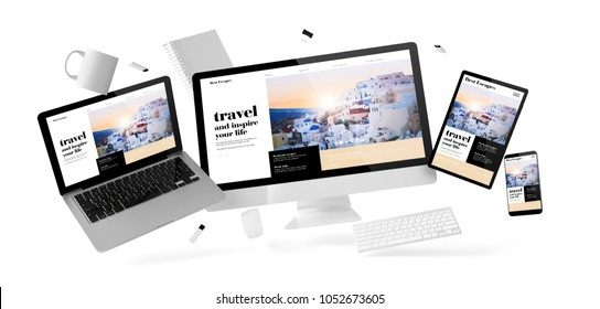 office stuff and devices floating with travel blog website 3d rendering
