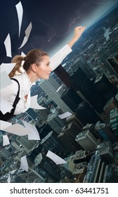 Office superman woman flying in downtown and fighting with paper work