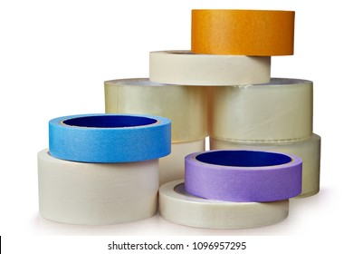 Office supplies, stationery transparent tape and paper masking tape isolated on white background, with saved path.