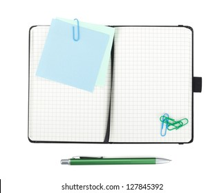 Office supplies. View from above. Isolated on white background