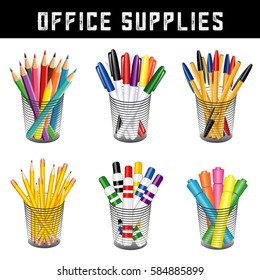 Office Supplies, writing and drawing tools in desk organizers for office, home, back to school projects, pencils, pens, felt tip markers, highlighters, colored pencils isolated on white background.