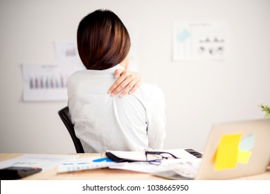 Office syndrome backache . business woman Office syndrome