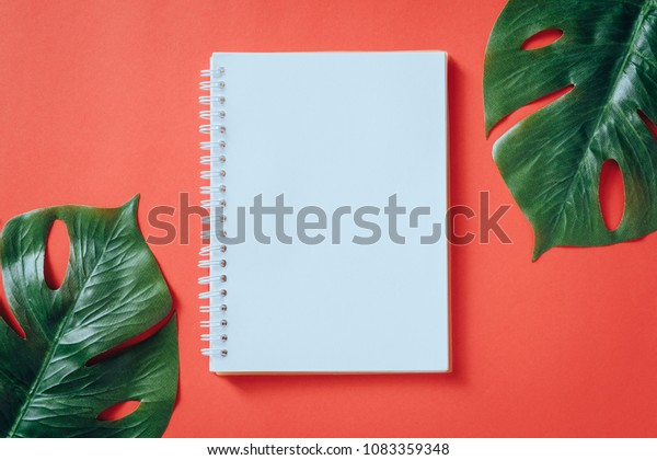 Office Table Desk Notebook Tropical Leaves Stock Photo Edit Now 1083359348 From our collection of beautifully designed stationery made by east london design brand wrap, founded by chris and polly harrison. shutterstock