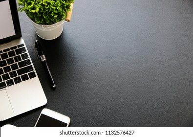 Office table with keyboard,mouse,Hot coffee and cactus,copy space,Top view, flat lay