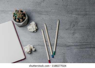 Office table with notebook, pencils, crumpled papers, cactus. Top view image. Copy space
