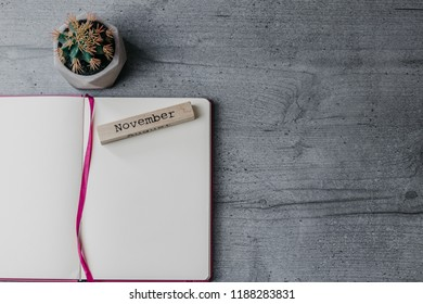 Office table with opened notebook, wooden sign 'November' and cactus. Top view, copy space