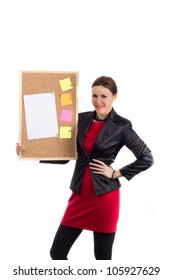 Office Team Leader - Woman in red dress and black coat holding a board with a blank paper and colorful sticky notes pinned down, easy to add custom text. Shot on white background