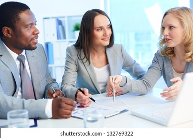 Office team working with business documents