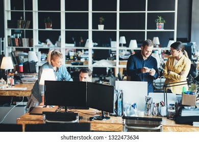 Office teamwork situation. Group of people and daily general tasks in the big workplace
