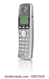 office telephone. digital cordless answering system isolated on white