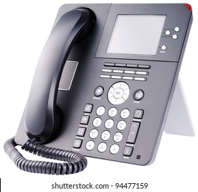 Office  telephone set with LCD isolated on the white