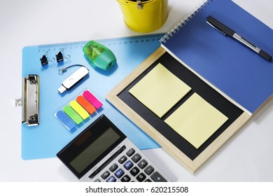 Office tools and stationery isolated on white background