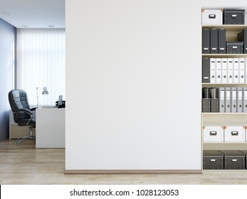 Office wall mock up interior. Wall art. 3d rendering, 3d illustration