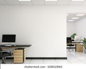 Office wall mock up interior. Wall art. 3d rendering, 3d illustration