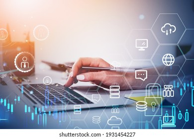 Office woman hand with pen and laptop, double exposure with network icons and blue graphs. Manager in global communication network and personal information