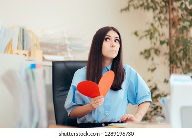 Office Woman Receiving Valentine Card from Secret Admirer. Girl holding postcard from lover in office romance concept portrait
