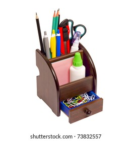 Office wooden stand for pens and pencils