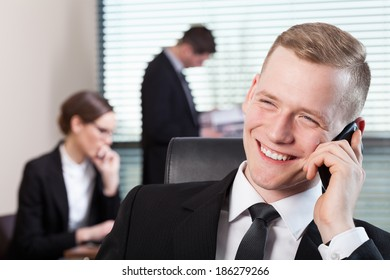 Office work and man talking on the phone