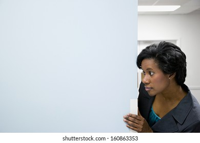 Office worker in corridor