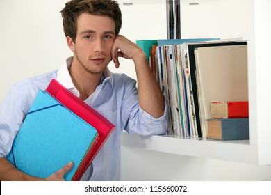 Office worker posing with his files