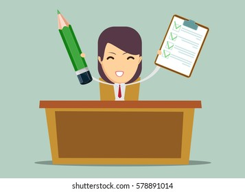 office worker sitting at the table and work with joy, without tiredness. Stock illustration.