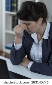 Office worker suffering from sinusitis