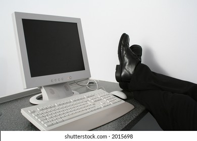 Office worker takes a break from the computer