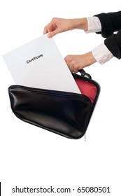 The office worker taking out the certificate from a document case