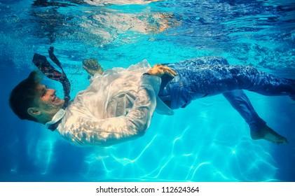 office worker underwater