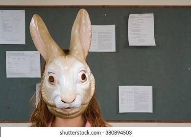 Office worker wearing a mask