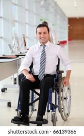 Office worker in wheelchair