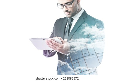Office worker working on a tablet double exposure isolated on white