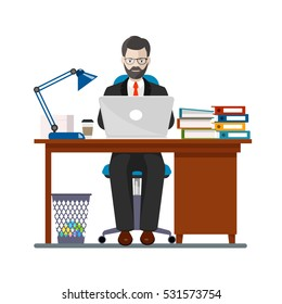 office worker in a workplace an illustration