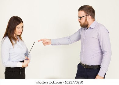 Office workers, a man and woman head