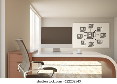 Office workplace with blank pc screen and computing sketch on wall. Mock up, 3D Rendering