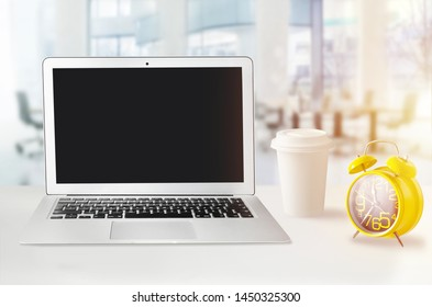 Office workplace with clock, deadline
