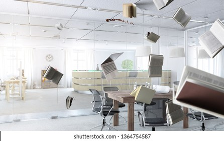 Office workplace with flying objects