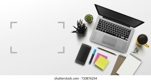 Office workplace with laptop, notebook, office supplies and stationery on white background. Solution, business planning, creative, design, learning, start up or working flat lay top view concept.