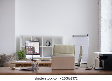 Office workplace with nobody