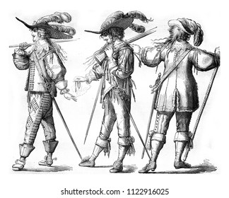 Officer and Musketeer on foot of the French Guards, in 1635, Officer with the hongreline, in 1643, vintage engraved illustration. Magasin Pittoresque 1858.