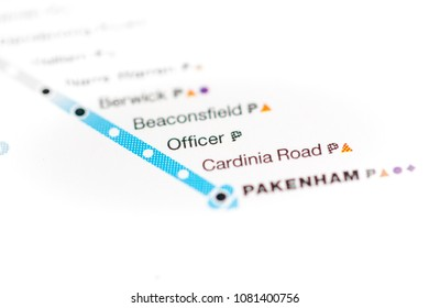 Officer Station. Melbourne Metro map. on a map.