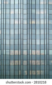 offices behind glass facade
