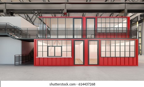 Offices built from shipping containers with staircase , 3d rendering