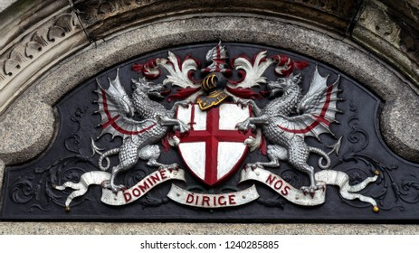 Official armorial bearings, arms and motto of the City of London, The United Kingdom - July 2, 2018