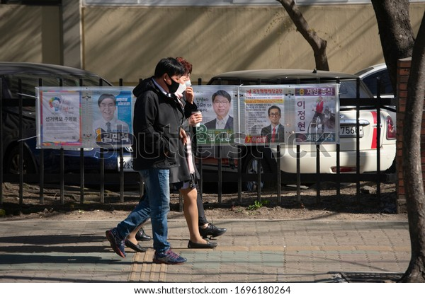 Official election posters for the 21st National Assembly are posted on the streets to get information on candidates for the April 15 general elections. (Seoul, Korea. Apr. 4, 2020)