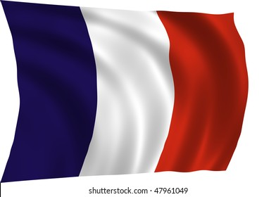 Official flag of France waving in the wind, illustration