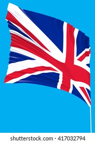 The official flag of Great Britain with a blue sky