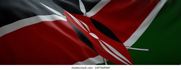 Official flag of Kenya. Web Banner.